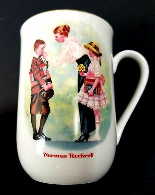 $ CDN12.15 • Buy Norman Rockwell Coffee Mug The First Day Of School  Vintage 1986 Cup Gold Trim