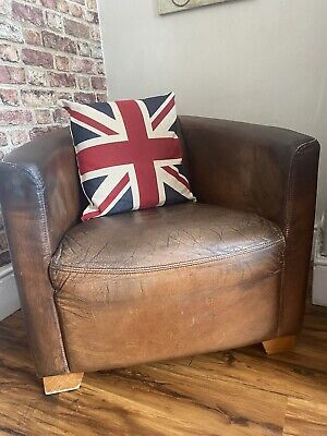 £225 • Buy Halo Distressed Dark Tan Leather Aviator Rocket Armchair CAN DELIVER
