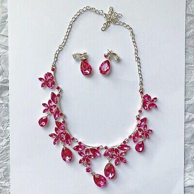 £9.50 • Buy Pink Flower Necklace And Clip On Earrings Set