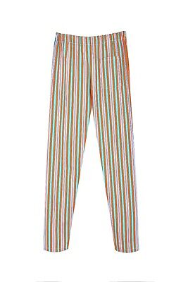 £9.99 • Buy Orange And Greeb And Bl And White Striped Chef Trousers  Uniforms U.k.