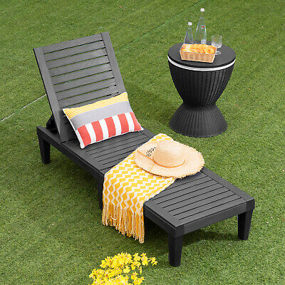 £85.95 • Buy Chaise Lounge Chair Plastic Sun Lounger Bed With 5-Position Adjustable Backrest