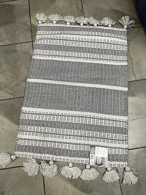 $21.55 • Buy Hearth & Hand With Magnolia 2'x3' Rug Sour Cream & Gray Fringe And Pattern
