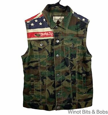 £28.92 • Buy Smoke Rise Men's Large Button Up Sleeveless Vest Camouflage Camo American Flag