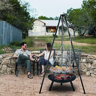 £75.99 • Buy Outdoor BBQ Fire Pit Bowl Tripod Hanging Grill Adjustable Camping Heater Burner