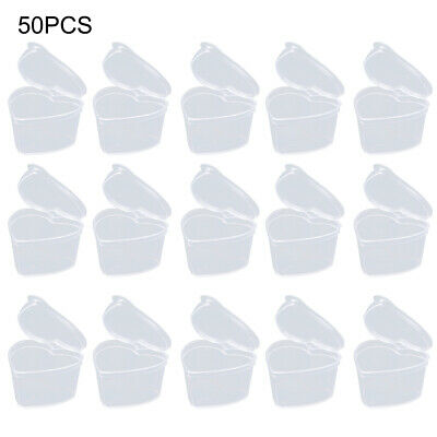 AU13.73 • Buy 50pcs DIY Cute With Lid Heart Shaped Slime Storage Container Sealing Transparent