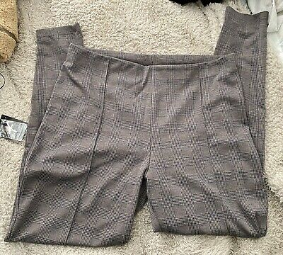 £6 • Buy Tan & Blue Checked Jeggings Trousers Size 16-20 - Free Post!