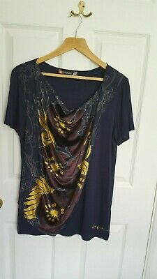 £15 • Buy Desigual Womens Navy Short Sleeved Top With Gold And Burgundy Detail, Size Small