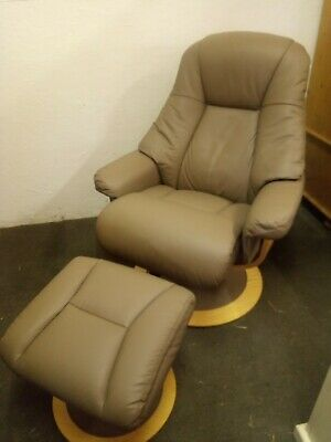 £125 • Buy Recliner Arm Chair And Foot Stool, Leather, FREE DELIVERY NORFOLK/SUFFOLK