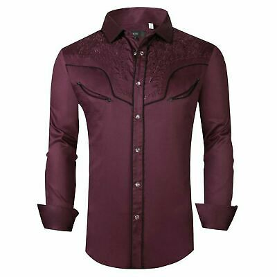 $29.95 • Buy Mens Western Rodeo Cowboy Shirt Burgundy Embroidered Pockets Snap Up General 1