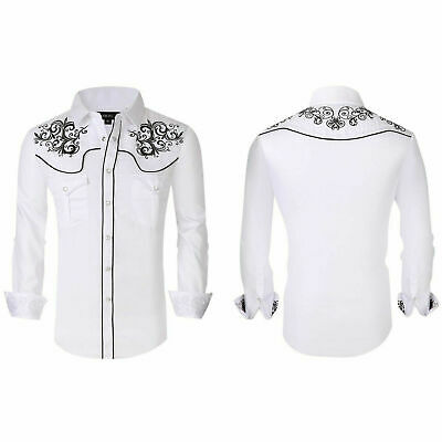 $29.95 • Buy Mens Western Rodeo Cowboy Shirt White Black Embroidery Snap Pockets General 4