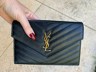 AU1100 • Buy Saint Laurent YSL Monogramme Quilted Leather Wallet On A Chain With Receipt