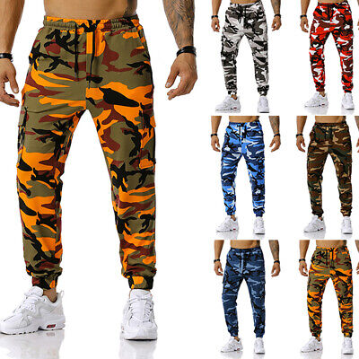 $26.29 • Buy Mens Camouflage Gym Sports Sweatpants Drawstring Pants Jogging Work Trousers US