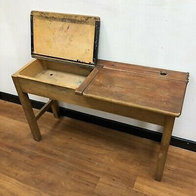£45 • Buy Vintage Kids School Desk Double Lift Up Lids, Inkwell And Penrest Holds
