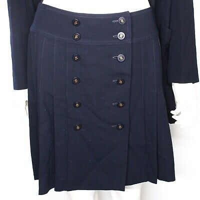 £424.09 • Buy Chanel - Skirt - CC Buttons - Rare 1994 Vintage Navy Gold Suit US 4 FR 36