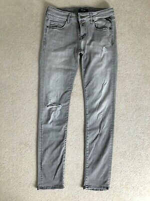 £9 • Buy Women's Grey Replay Jeans. Size 12. Stretch. Distressed. Barely Worn.