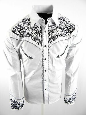 $29.95 • Buy Mens Western Rodeo Shirt White Paisley Floral Designer Embroidery Snap Up Cowboy