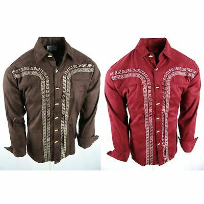 $28.95 • Buy Mens Western Rodeo Shirt Designer Embroidered Stripe Buttons Faux Suede Stretch