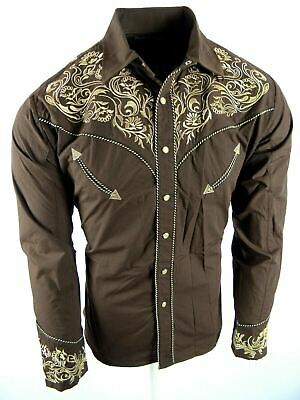 $29.95 • Buy Mens Western Rodeo Shirt Brown Paisley Floral Designer Embroidery Snap Up Cowboy