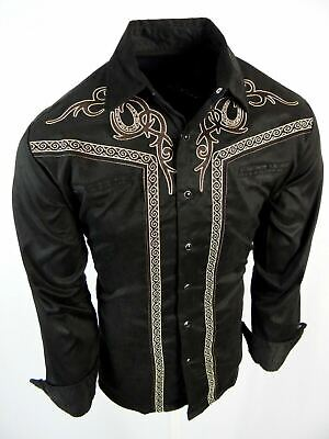 $33.95 • Buy Mens Western Rodeo Shirt Black All Suede Faux Stretch Embroidered Cowboy Snap Up