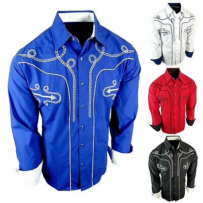 $29.95 • Buy Mens Western Rodeo Cowboy Shirt Rope Embroidered Shoulders And Back Snap Up