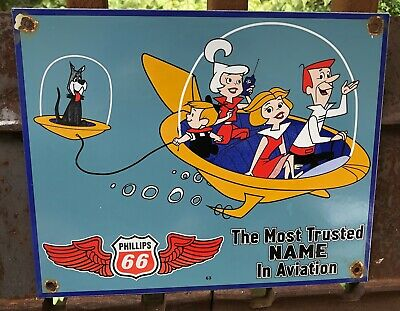 $ CDN64.37 • Buy Vintage 1963 Dated Phillips 66 Porcelain Sign  The Jetsons  Cartoon Aviation
