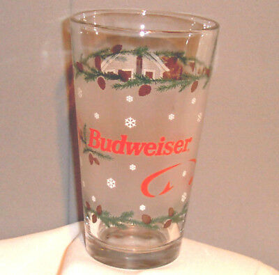 $ CDN2.88 • Buy Budweiser HAPPY HOLIDAY Frosted Clydesdale & Wagon Beer Drinking Glass