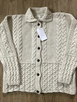 £42.99 • Buy Traditional Ivory 100% British Wool Chunky Cable Knit Aran Collared Cardigan L