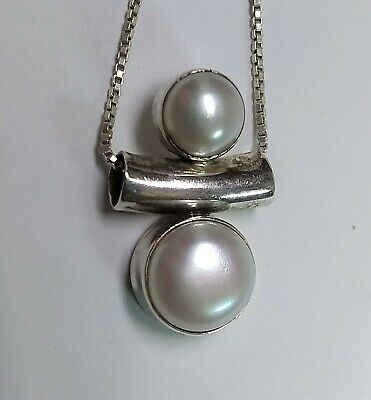 $24.99 • Buy Vintage STERLING SILVER & MABE PEARL PENDANT NECKLACE 20  Box Chain Italy 7.5gr