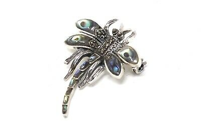 £2.95 • Buy A Lovely Vintage Sterling Silver 925 Marcasite & Abalone Shell Dragonfly Brooch