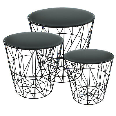 £34.99 • Buy Set Of 3 Round Nest Side Tables Black Glass Mirror Metal Wire Modern Living Room