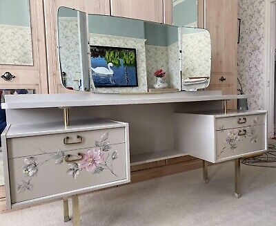 £88 • Buy Vintage G-Plan E Gomme Dressing Table. Grey With Pretty Floral Design.