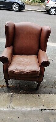 £147 • Buy Laura Ashley Denbigh Tan Leather Wing Chair Very Good Condition