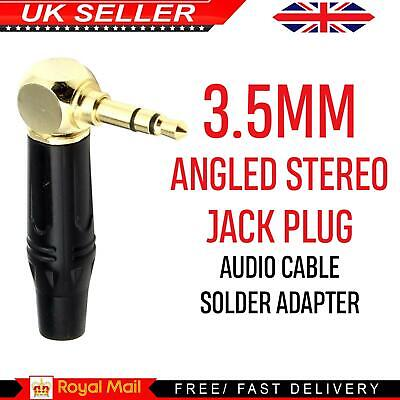 £2.45 • Buy 3.5mm Jack Plug Stereo Audio Right Angle Angled Adapter Cable Solder Terminal UK