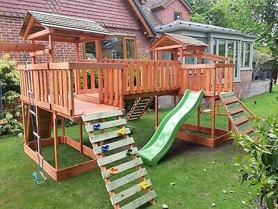 £1154.99 • Buy NEW-Big Wooden Climbing Frame,monkey Bars,Slid ,Swing,  Assembly Included
