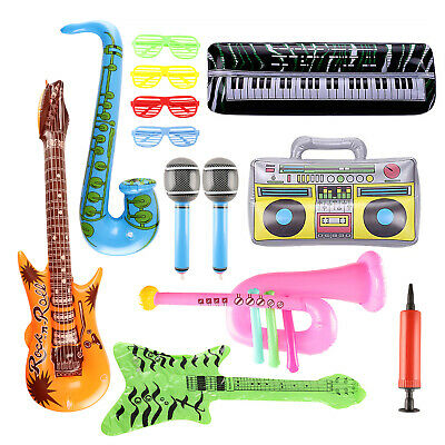 £12.99 • Buy 13pcs Inflatable Instruments Party Props Guitar Saxophone Microphone Piano PVC