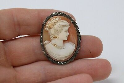 £0.99 • Buy Really Well Carved Vintage Sterling Silver 925 Cameo Marcasite Brooch #637