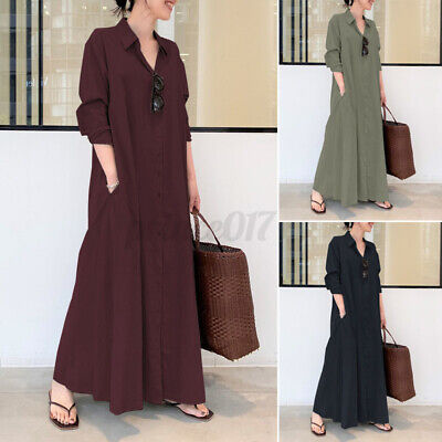 £14.99 • Buy New Womens V Neck Long Sleeve Button Down Shirt Dress Casual Loose Maxi Dresses