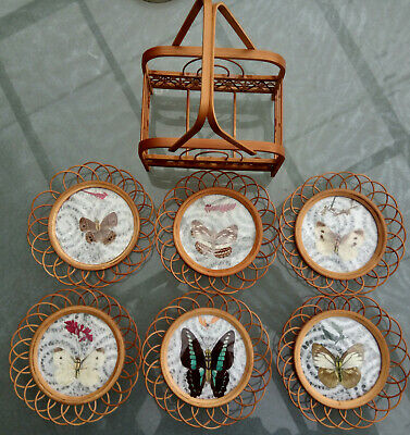 £10 • Buy Mid-Century Vintage Retro Bamboo Rattan Butterfly Coasters - Set Of 6