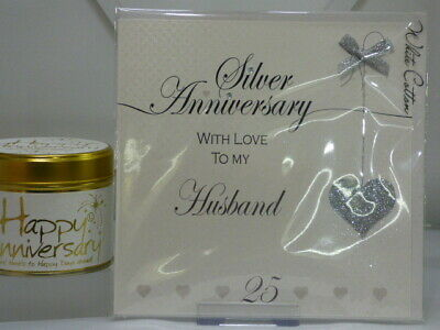 £5.16 • Buy  Silver Wedding Anniversary, Husband  Card By White Cotton. (Blank Inside)