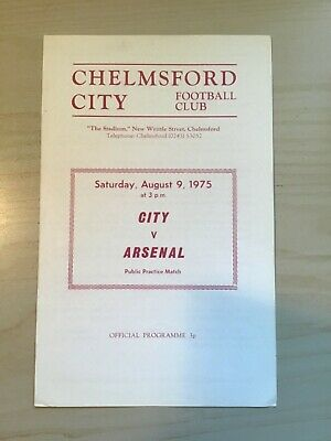 £14.99 • Buy 1975/76 Chelmsford City V Arsenal. Public Practice Match. 9 August 1975