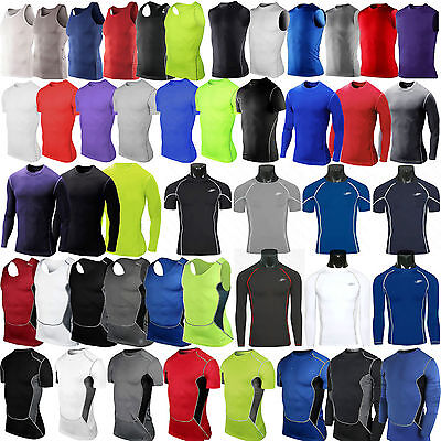 £9.99 • Buy Mens Compression Base Layer Shirt Tight Tops Gym Sports Athletic Fitness T Shirt