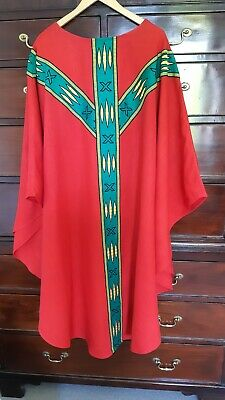 £49 • Buy Ecclesiastical Religious Vestment Red Chasuble Stole Veil Excellent Condition