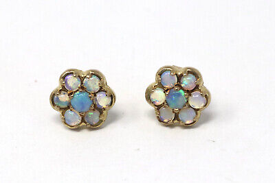 £33 • Buy Excellent Vintage Pair Of 9ct 375 Yellow Gold Fiery Opal Cluster Earrings #11
