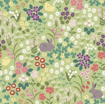 £60 • Buy Lewis And Irene 'Bunny Hop' Fabric 100% Cotton FULL 10m BOLT UNOPENED