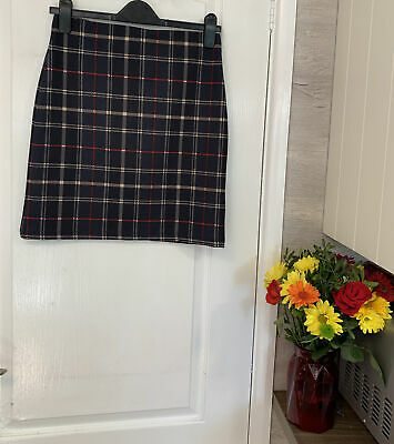 """£0.99 • Buy M&S Collection Size 8 Navy Blue Checked Skirt 18"""" Length"""