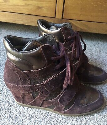 £14.99 • Buy ASH Ladies Wedge Trainers Leather-Suede  Red-wine UK5 EU38 Excellent Condition