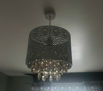 £8.99 • Buy Modern Chandelier Ceiling Light Shades Silver With Crystals Pendant Lampshade