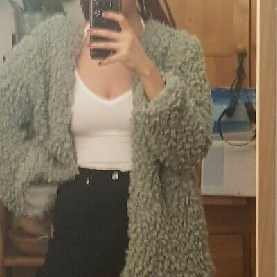 £35 • Buy BNWT Pull And Bear Oversized Faux Fur Shaggy Borg Sherpa Curly Teddy Coat Size L