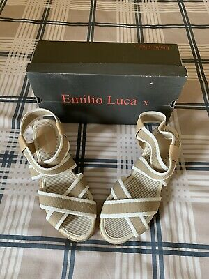 £5.50 • Buy Emilio Luca Sandals Size 7 - New In Box, Beige/white, Wedge Style