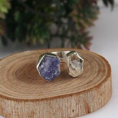 £35.49 • Buy Raw Tanzanite And Herkimer Diamond Ring 925 Sterling Silver Adjustable Ring
